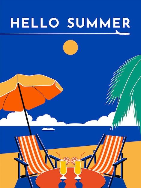 Ciao poster di viaggio estivo. giornata di sole, spiaggia, mare, ombrellone, sedia, chaise longue, cocktail, palma, aereo, cielo, nave da crociera. illustrazione piatta. Vettore Premium