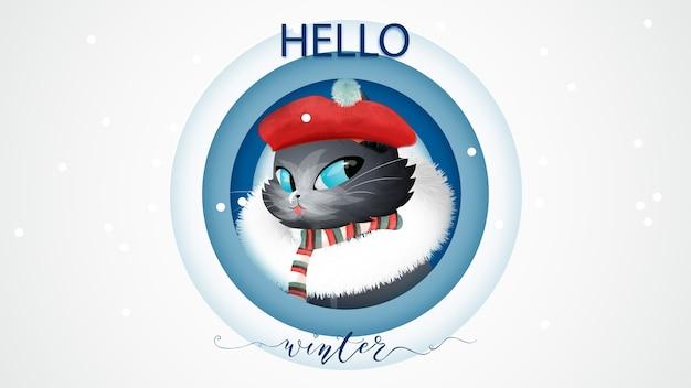 Ciao lettering di concetto di inverno e gatto in stile acquerello stivali di natale. Vettore Premium