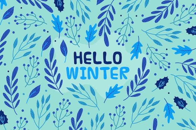 Ciao messaggio invernale su carta da parati illustrata Vettore Premium
