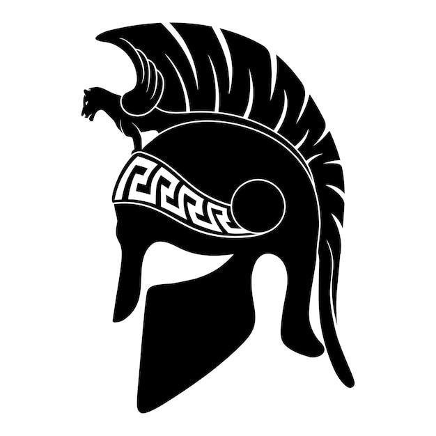 Elmo dell'oplita guerriero greco antico con un ornamento meandro nazionale isolato su priorità bassa bianca. Vettore Premium