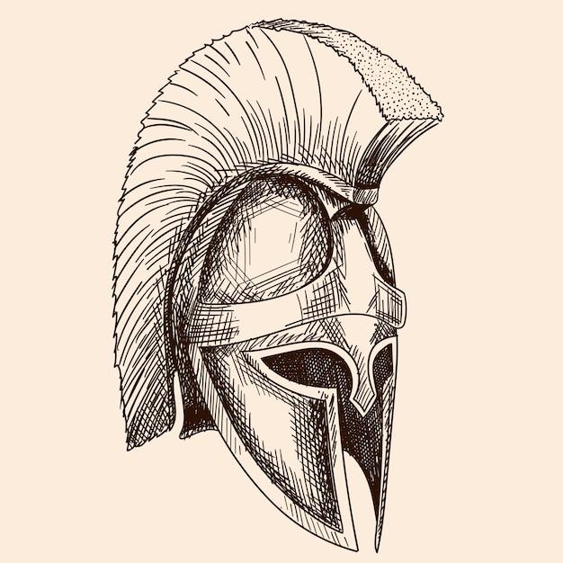 Elmo dell'antico guerriero greco oplita con ornamento a meandro nazionale. schizzo a mano semplice isolato su sfondo beige. Vettore Premium