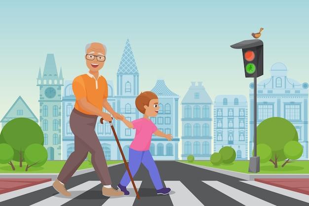 Aiutare il vecchio. il ragazzino aiuta un vecchio ad attraversare la strada nell'illustrazione della città Vettore Premium