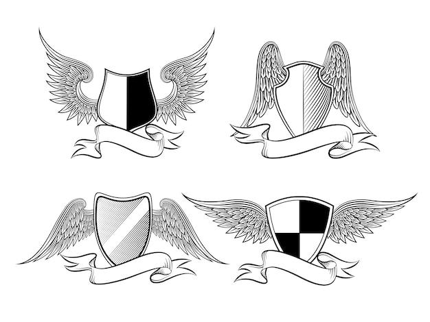 Scudo araldico con ali e nastri per logo, emblema, simbolo o tatuaggio. illustrazione vettoriale Vettore Premium