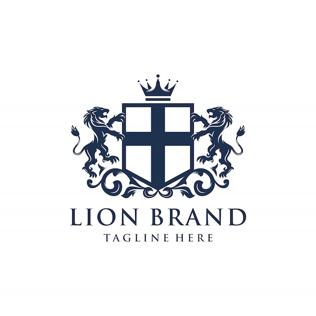 Araldica lion brand logo design Vettore Premium