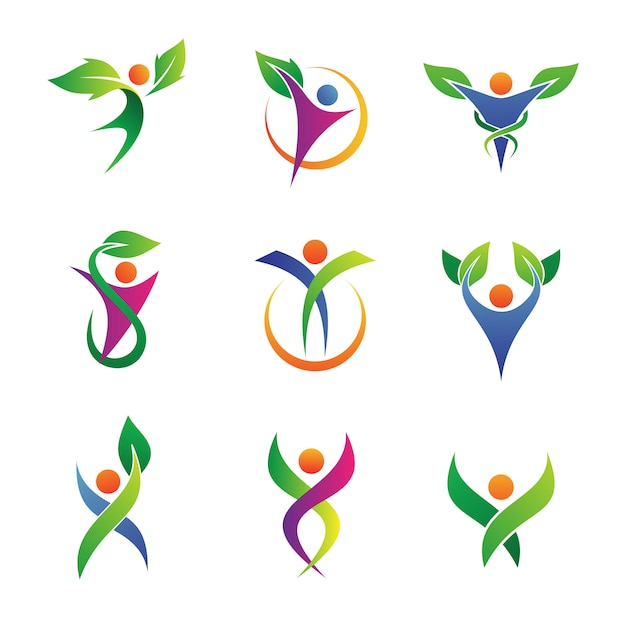 Collezioni di erbe herbal logo Vettore Premium