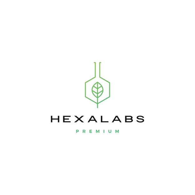 Illustrazione dell'icona di logo di hexalabs del laboratorio della natura della foglia di esagono Vettore Premium