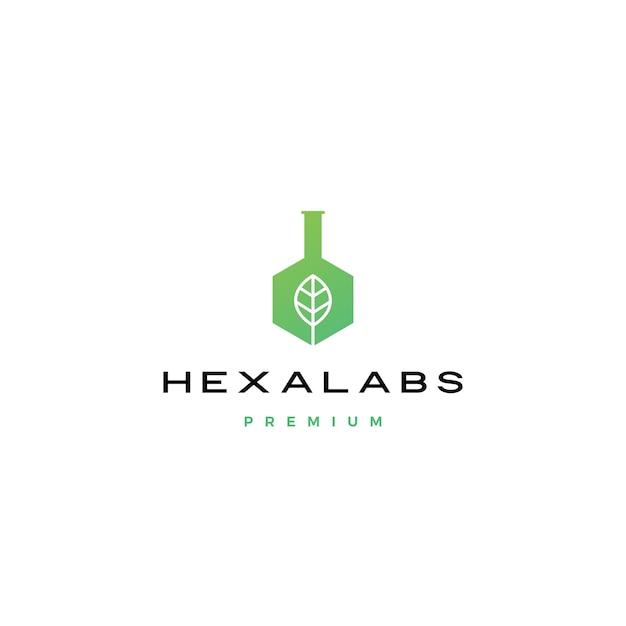 Icona di logo di esagono di natura esagonale foglia laboratorio esagono Vettore Premium