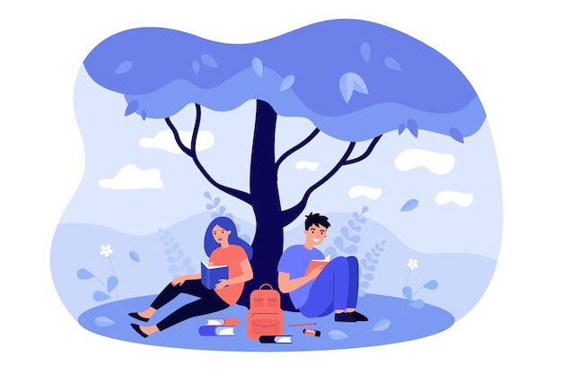 Studenti delle scuole superiori seduti sul prato all'albero, leggere un libro, fare i compiti, studiare insieme. Vettore Premium
