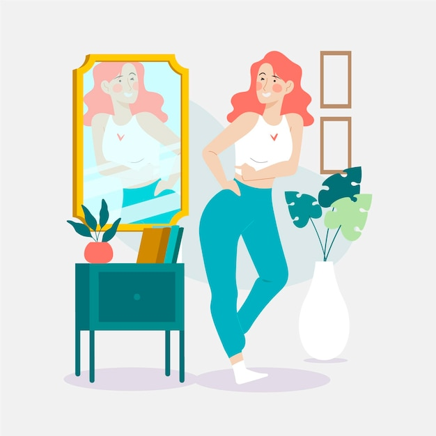 Illustrazione di alta autostima con donna e specchio Vettore Premium
