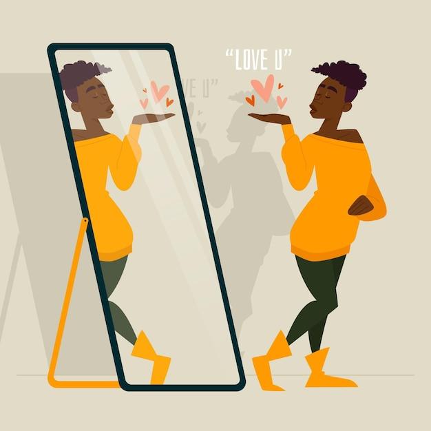 Illustrazione di alta autostima con la donna Vettore Premium