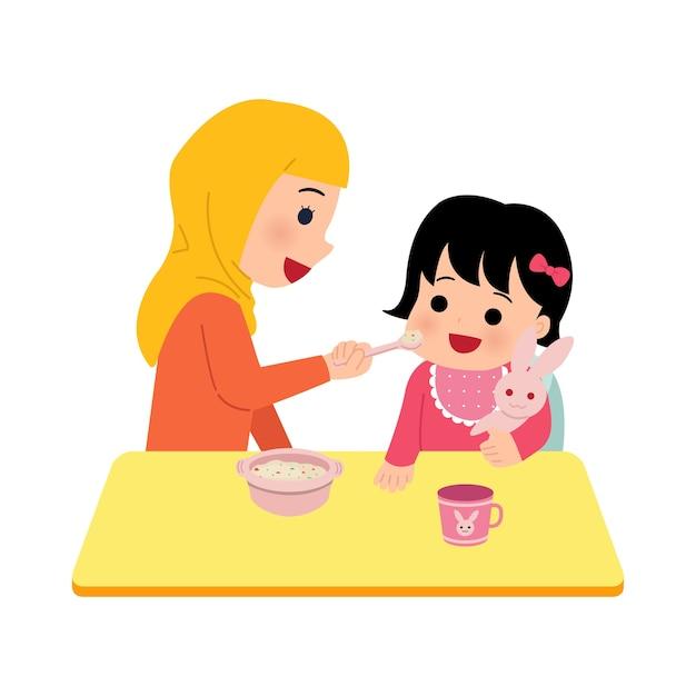 Mamma hijab che allatta la sua bambina. la madre dà porridge nutriente al bambino. clipart genitoriali su sfondo bianco. Vettore Premium