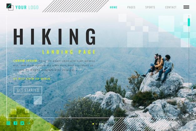 Pagina di destinazione escursionistica Vettore Premium