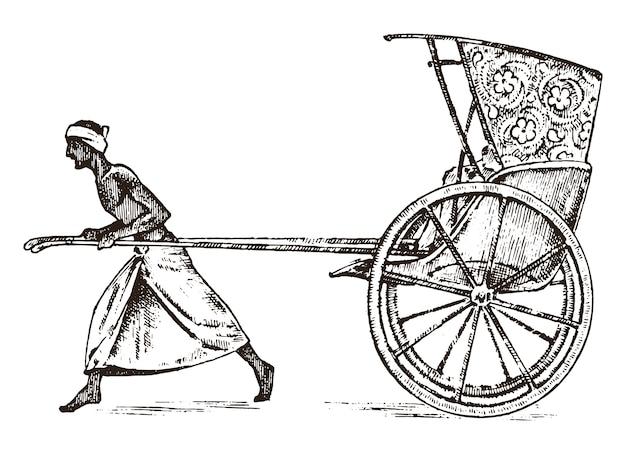 Contadino indù con risciò, lavorando con un carrello per i passeggeri in india. incisi disegnati a mano nel vecchio schizzo, stile vintage. kolkata. Vettore Premium