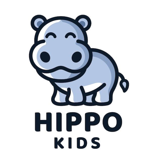 Modello di logo di bambini dell'ippopotamo Vettore Premium