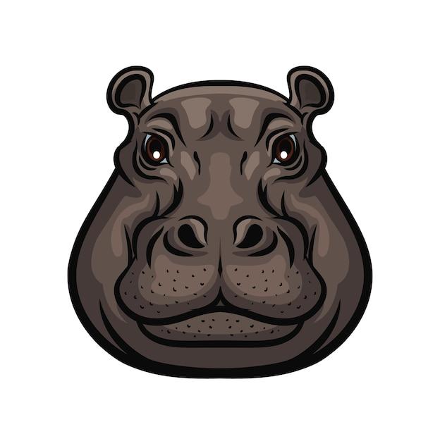 Testa di muso selvatico animale ippopotamo, simbolo isolato. icona del club di cacciatori o caccia sportiva e caccia all'avventura safari, ippopotamo africano selvaggio, zoo e segno del parco zoologico Vettore Premium