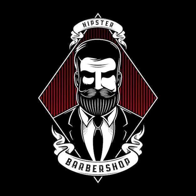 Hipster barbershop illustrazione Vettore Premium