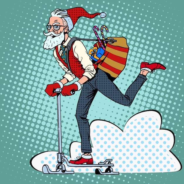 Hipster babbo natale diffonde i regali di natale su una slitta da scooter Vettore Premium