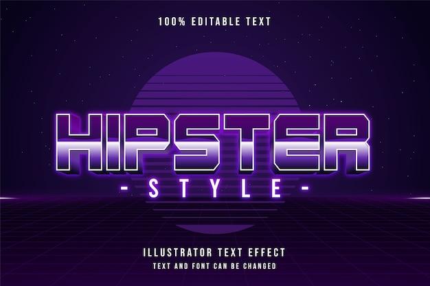 Stile hipster, 3d testo modificabile effetto viola sfumato rosa anni '80 ombra testo stile Vettore Premium
