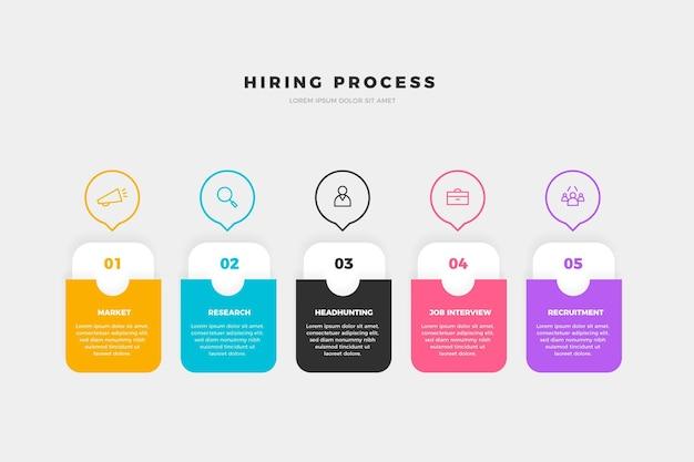 Infografica del processo di assunzione Vettore Premium