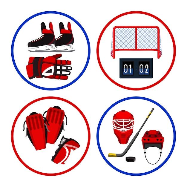 Set di illustrazioni di attrezzature da hockey Vettore Premium