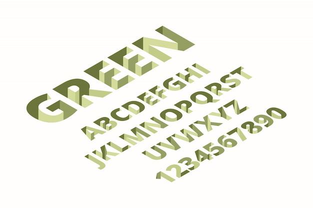 Carattere buco. alfabeto isometrico techno mattoni alla moda segni lettere font Vettore Premium