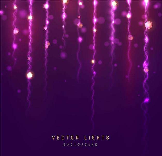 Luci del bokeh di festa. luce bokeh sfocata su sfondo nero. glitter argento astratto sfocato stelle lampeggianti e scintille. Vettore Premium