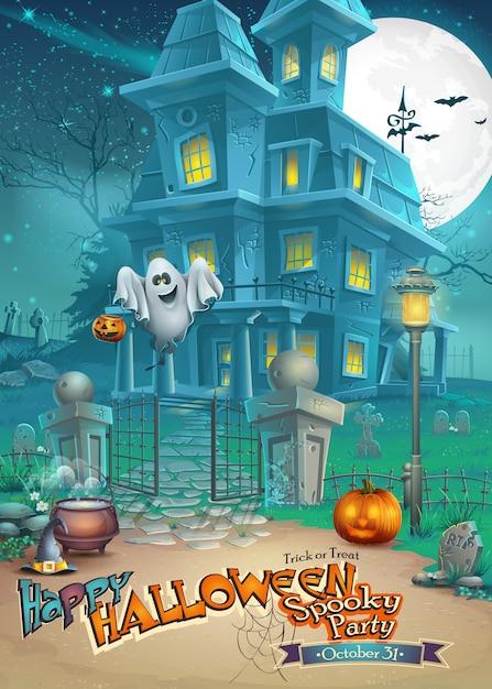 Biglietto di auguri con una misteriosa casa stregata di halloween, zucche spaventose, un cappello magico e un allegro fantasma Vettore Premium