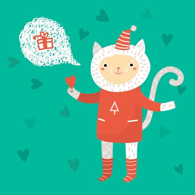Illustrazione di vacanza con un simpatico gatto Vettore Premium