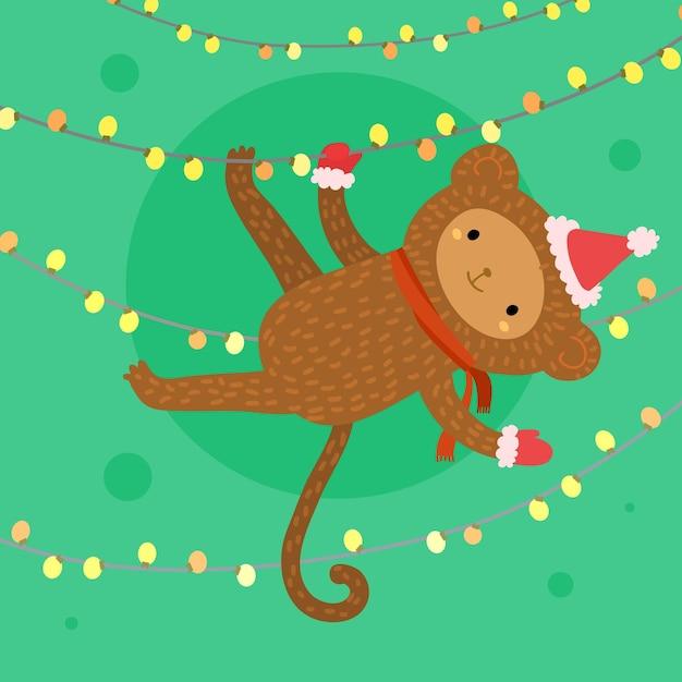 Illustrazione di festa con una scimmia carina con cappello rosso Vettore Premium