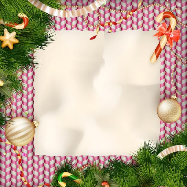 Saluti dei dolci di feste e cartolina di natale. Vettore Premium