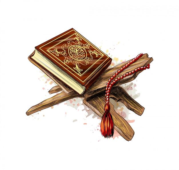 Libro sacro del corano con rosario da spruzzi di acquerelli. festa musulmana, eid mubarak, eid al-fitr, ramadan kareem. schizzo disegnato a mano. illustrazione vettoriale di vernici Vettore Premium