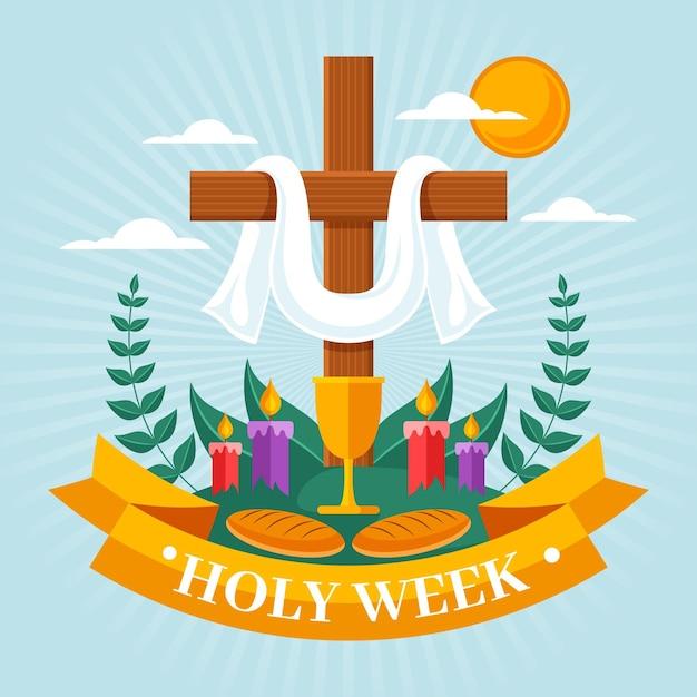 Illustrazione della settimana santa con croce e candele Vettore Premium