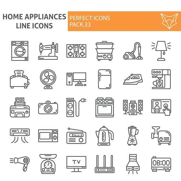 Insieme dell'icona di linea di elettrodomestici, collezione domestica Vettore Premium