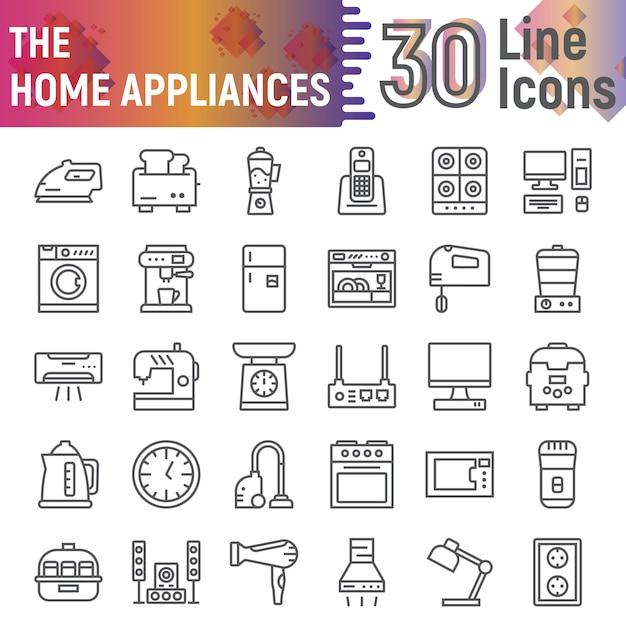 Insieme dell'icona di linea di elettrodomestici, raccolta di simboli di utensili da cucina Vettore Premium