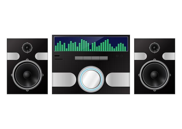 Sistema audio domestico isolato su bianco. illustrazione Vettore Premium