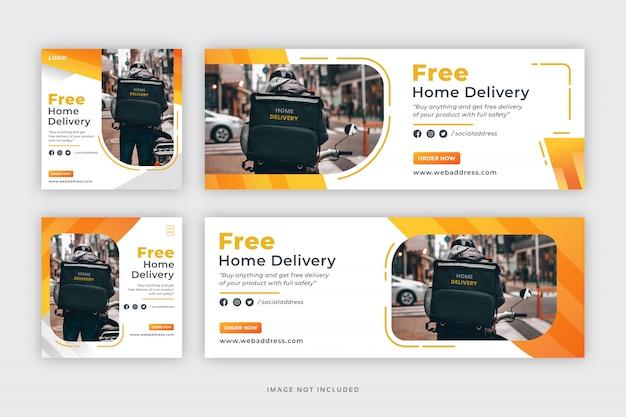 Consegna a domicilio social media post banner web e modello di copertina di facebook Vettore Premium