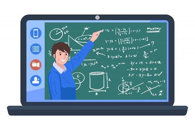Istruzione domestica, videoconferenza dell'illustrazione con l'insegnante a casa. Vettore Premium