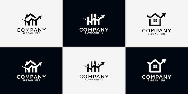 Design del logo finanziario domestico in bundle Vettore Premium