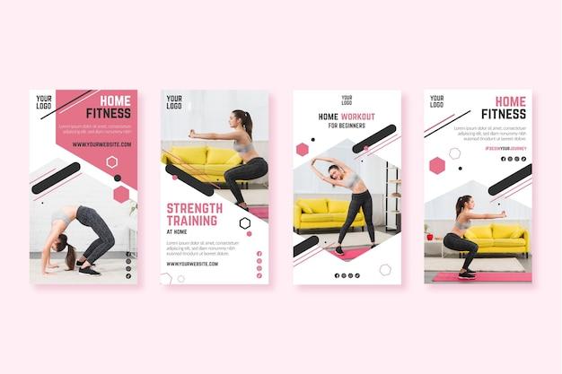Modello di storie instagram casa fitness Vettore Premium
