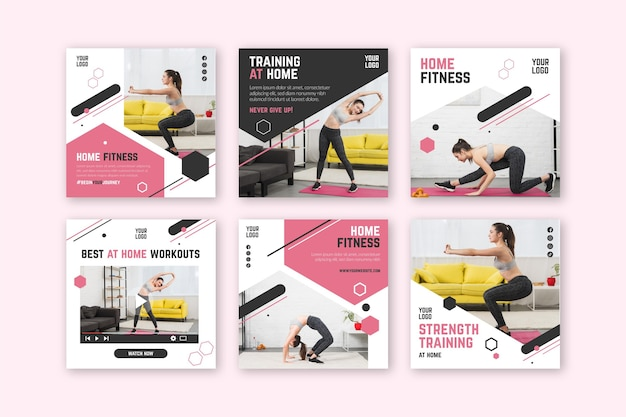 Modello di post social media fitness casa Vettore Premium
