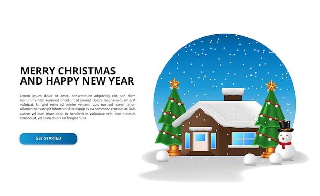 Costruzione di casa con carattere albero di natale e pupazzo di neve alla stagione invernale di neve. buon natale e felice anno nuovo. Vettore Premium