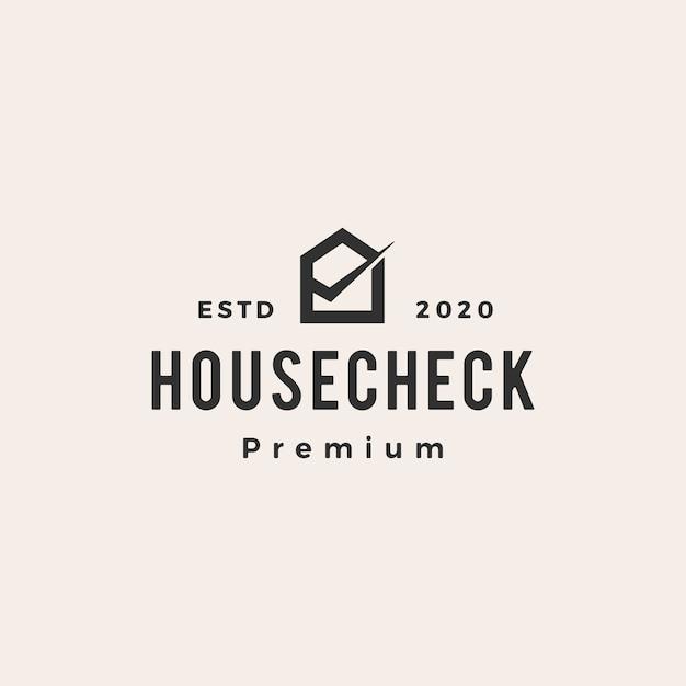 Illustrazione dell'icona di logo vintage controllo casa casa Vettore Premium