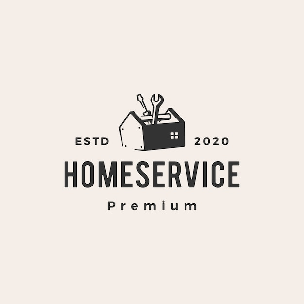 Illustrazione d'annata dell'icona di logo dei pantaloni a vita bassa di servizio della casa domestica Vettore Premium