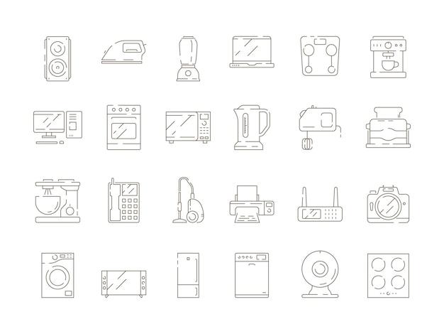 Articoli per la casa. linea sottile icone di vettore del frigorifero del computer tv del miscelatore degli apparecchi elettrici della cucina Vettore Premium