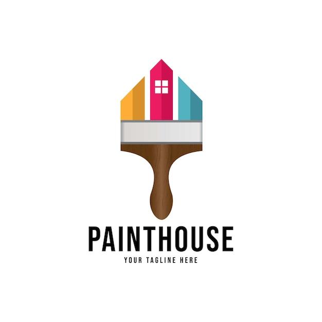 Home paint logo, identità aziendale di decorazione domestica Vettore Premium