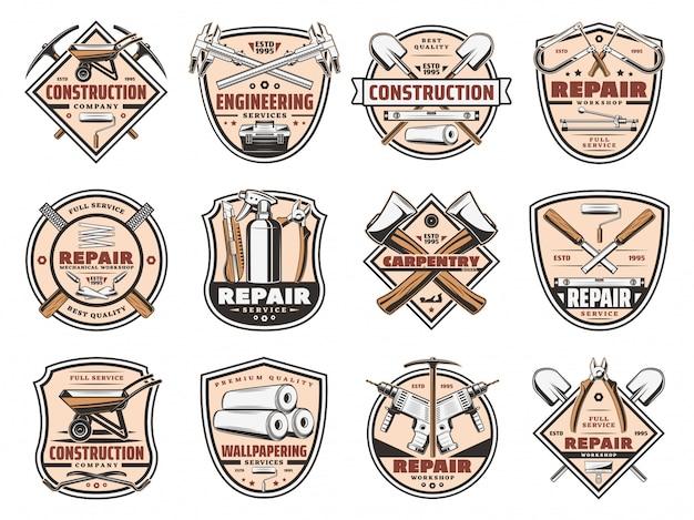 Icone degli strumenti dei lavori di costruzione di riparazione domestica Vettore Premium