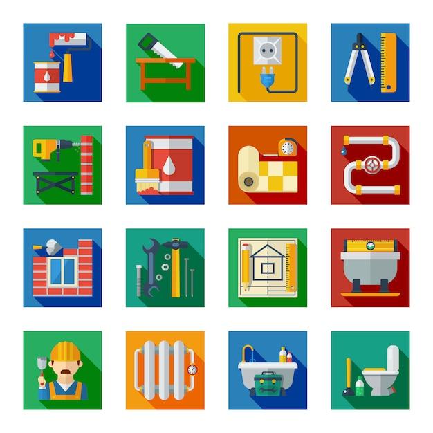 Set di icone quadrate piatte di riparazione a casa Vettore Premium