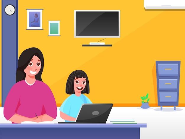 Concetto di istruzione domestica Vettore Premium