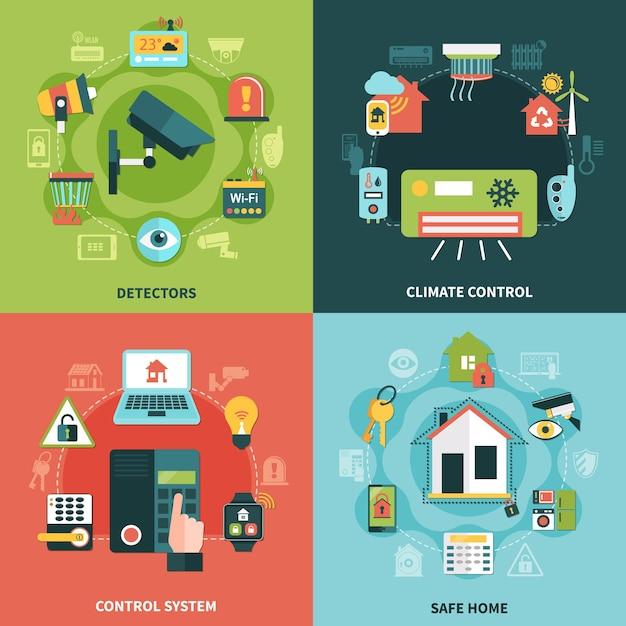 Concetto di design piatto di sicurezza domestica con controllo del clima, sistema di monitoraggio, rilevatori, illustrazione vettoriale isolata proprietà sicura Vettore Premium