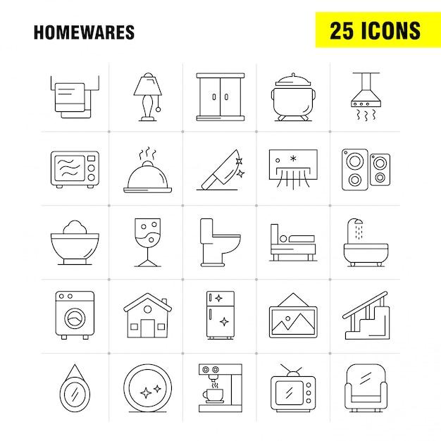 Articoli per la casa set di icone di linea per infografica, kit ux / ui mobile Vettore Premium
